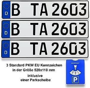 Amazon.es: Matrículas alemanas estándar para coche, 520 z 110 mm, incluyen un disco horario de aparcamiento, 3 unidades