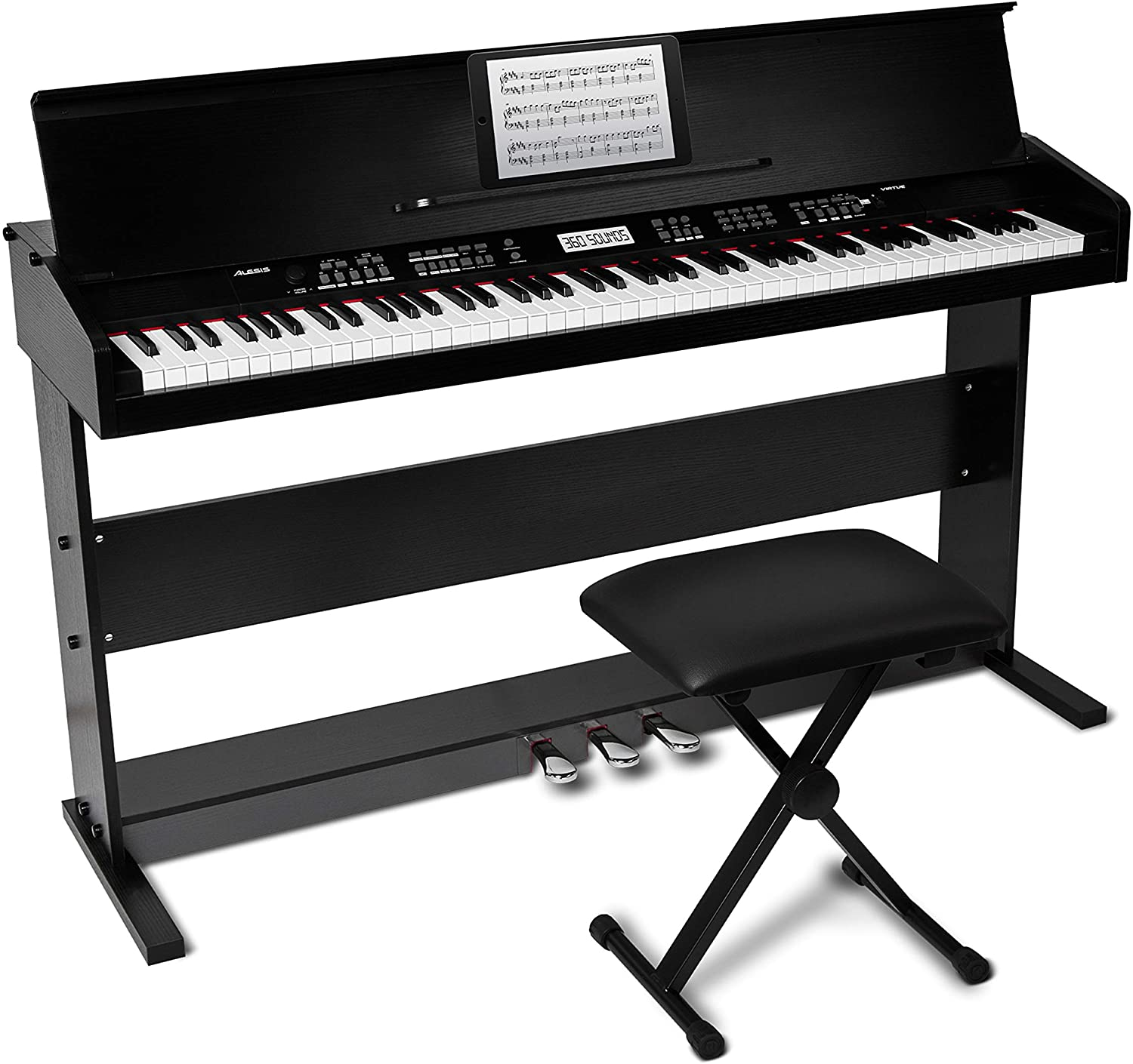 Amazon.com: Alesis Virtue | 88-Key Beginner Digital Piano with Full-Size  Velocity-Sensitive Keys, Lesson Mode, Power Supply, Built-In Speakers, 360  Premium Voices and 3 Months of Skoove Lessons Included: Musical Instruments