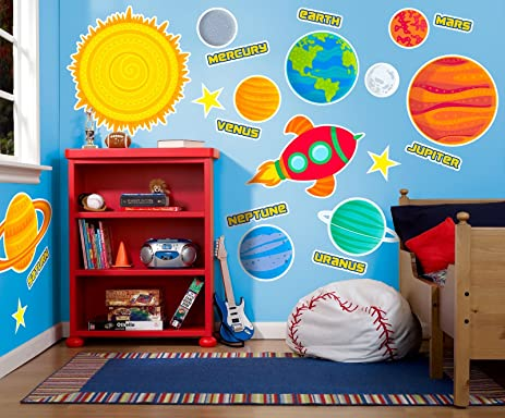 Solar System Rocket To Space Astronaut Room Decor   Giant Wall Decals