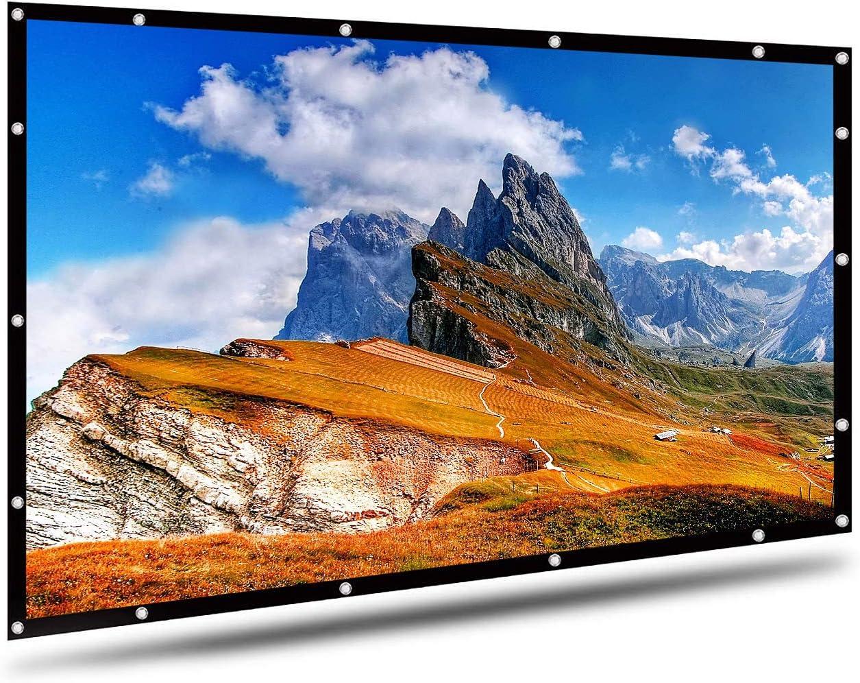 Pantalla de proyector de Montaje en Pared/portátil proyector de Pantalla 16: 9 Color Blanco 120 Pulgadas en Diagonal Proyección de la Pantalla