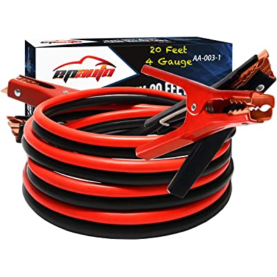 EPAuto 4 Gauge x 20 Ft 500A Heavy Duty Booster Jumper Cables with Travel Bag and Safety Gloves (4 AWG x 20 Feet): Automotive