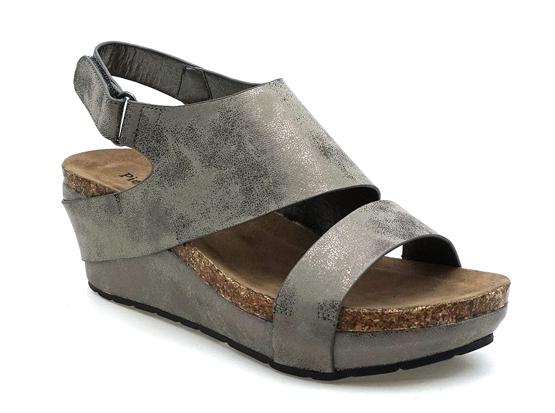 Pewter6c MVE shoes Women's Open Toe Strappy Platform Sandals