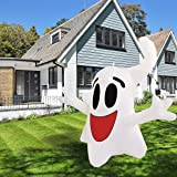 Halloween Inflatable Decoration 4ft Hanging Happy Ghost with Built-in Color-Changing LED Light Blow-up Yard Decoration COMIN
