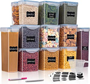 Large Airtight Food Storage Containers - WUHUME Cereal & Dry Food Storage Container Set of 12(Blue Lid), Leak-proof & BPA Free, With 1 Measuring Cup & 24 Chalkboard Labels & 2 Liquid Markers