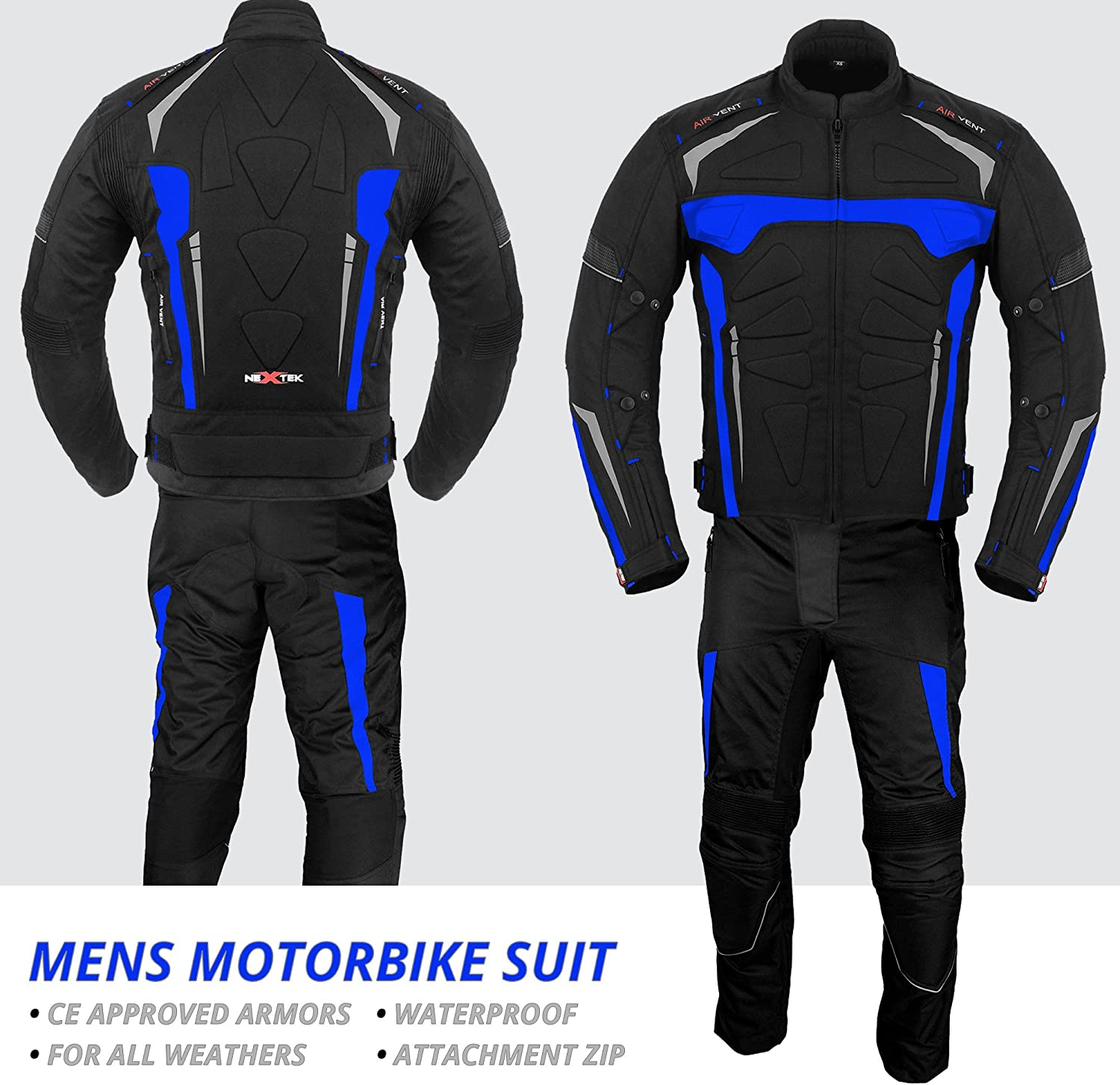 Motorbike Armor Bike Rider 2-piece Waterproof Racing Sports Suit All Weather Wearing CE Armour For Mens Boys Motorcycle Suits S Black
