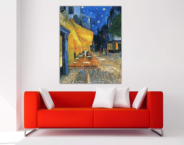Desconocido Cuadro Lienzo Café de Arles Van Gogh - Lienzo de Tela Bastidor de Madera de 3 cm - Fabricado en España - Varias Medidas - Impresión en Alta resolución (79, 100)