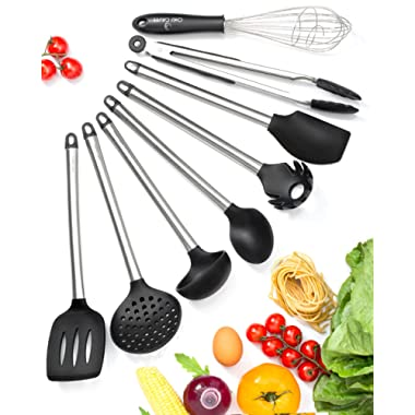 Kitchen Utensil Set – 8 Best Cooking Utensils Set - Cool Kitchen Gadgets - Kitchen Tools – Silicone Stainless Steel Spatula Set- Tongs Pasta Strainer & Server Whisk Serving Spoon - Gifts
