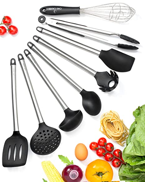 Kitchen Utensil Set – 8 Best Cooking Utensils Set - Cool Kitchen Gadgets -  Kitchen Tools – Silicone Stainless Steel Spatula Set- Tongs Pasta Strainer  ...