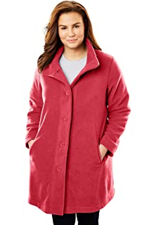 1e6a75cb381 Woman Within Women s Plus Size Fleece Swing Funnel-Neck Jacket