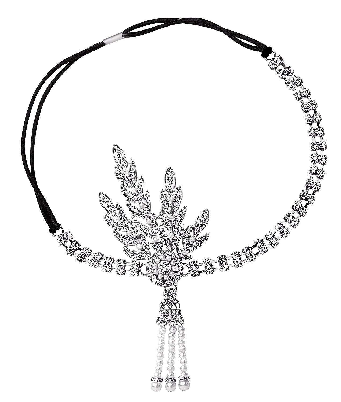 Babeyond–Accessoire Pour Cheveux inspiré au grand Gatsby, modèle années 20, avec perles et médaillon avec feuilles Argenté