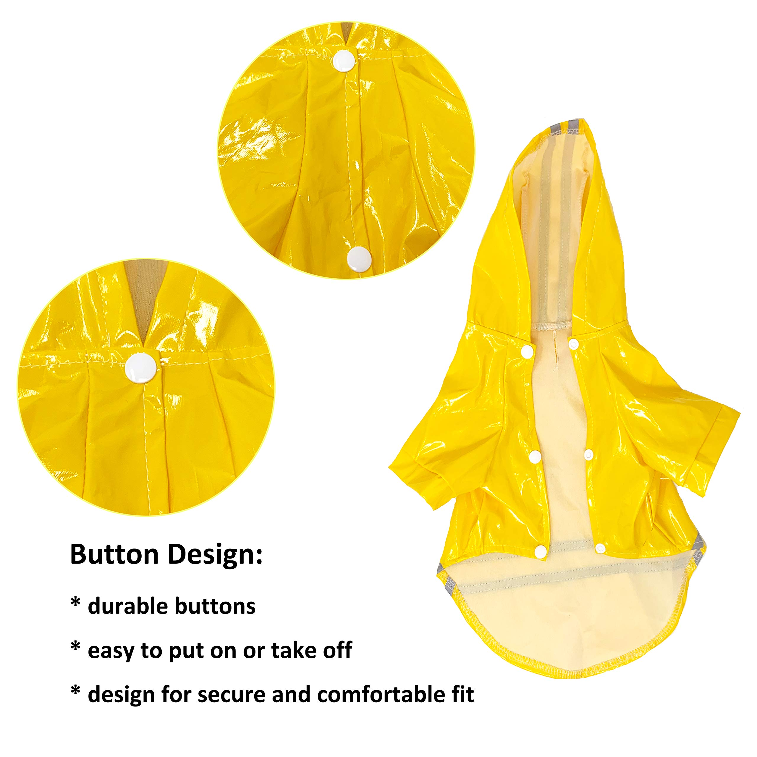 Cutie Pet Dog Raincoat Waterproof Coats for Dogs Lightweight Rain Jacket Breathable Rain Poncho Hooded Rainwear with Safety Reflective Stripes (L, Yellow)
