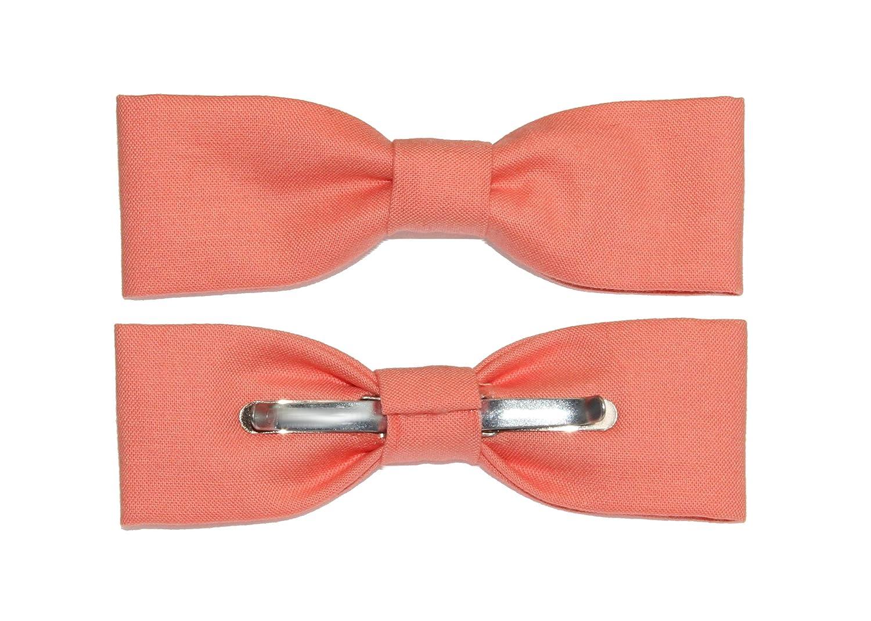 Mens Skinny//Slim Salmon Clip On Cotton Bow Tie Bowtie