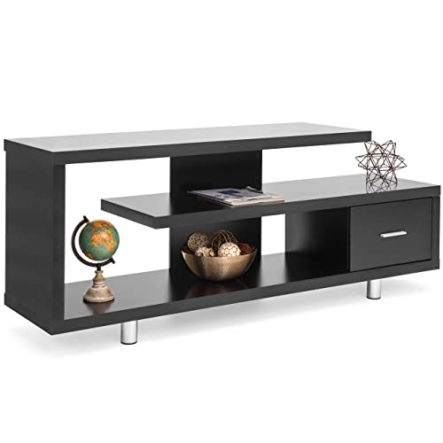 Best Choice Products Living Room Home Entertainment Media Console TV Stand Display w 3 Shelves, Sliding Drawer – Black