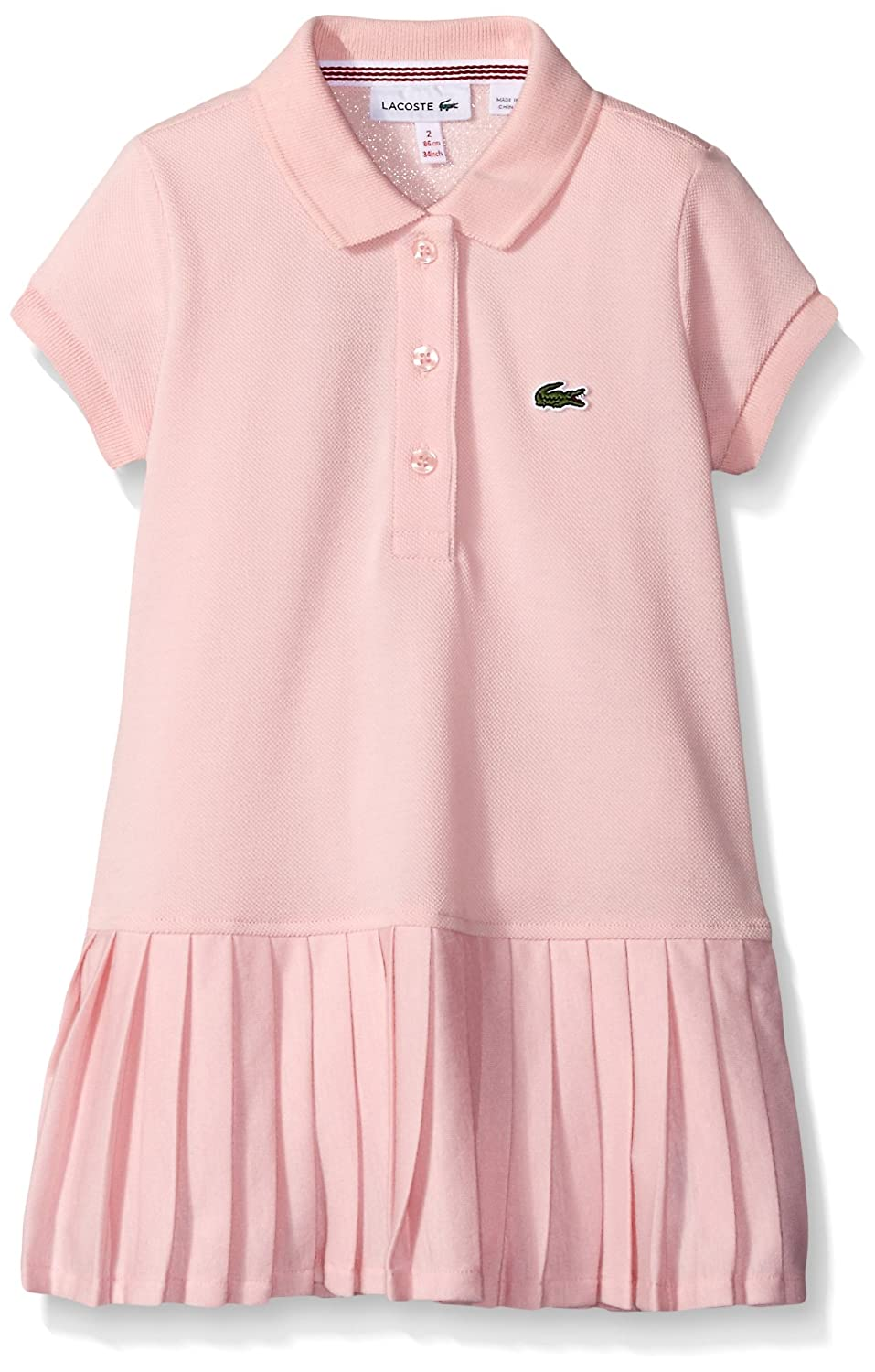 4eac9bc4039f Lacoste Girls  Big Girls  Short Sleeve Pique Polo Dress with Pleated Bottom