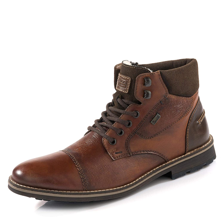 Details zu Rieker TEX Herren Leder Boots Winterschuhe Lammwolle Stiefel grau Gr. 41
