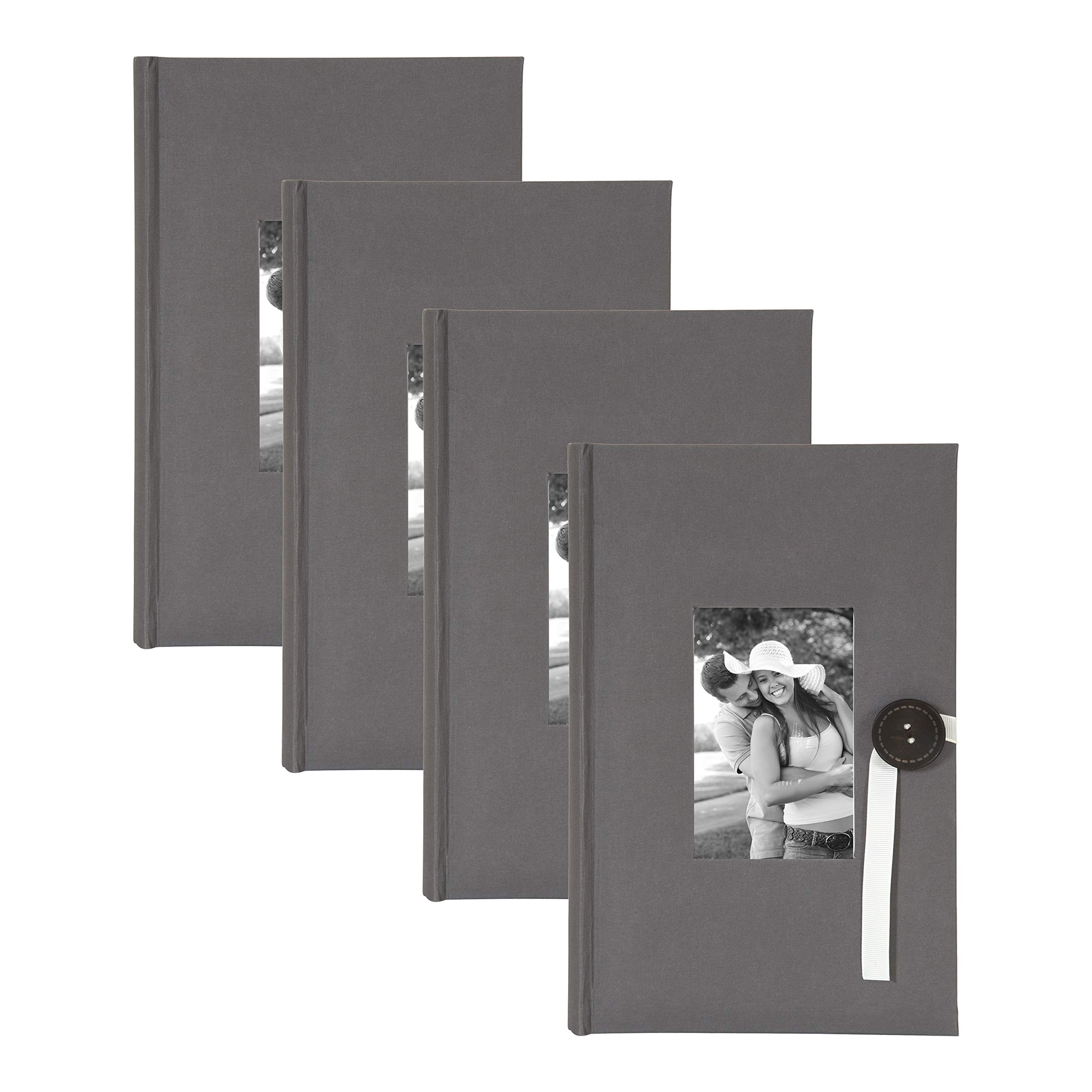 DesignOvation Kim Gray Fabric Photo Album with Ribbon and Button Closure, Holds 300 4x6 Photos, Set of 4 by DesignOvation