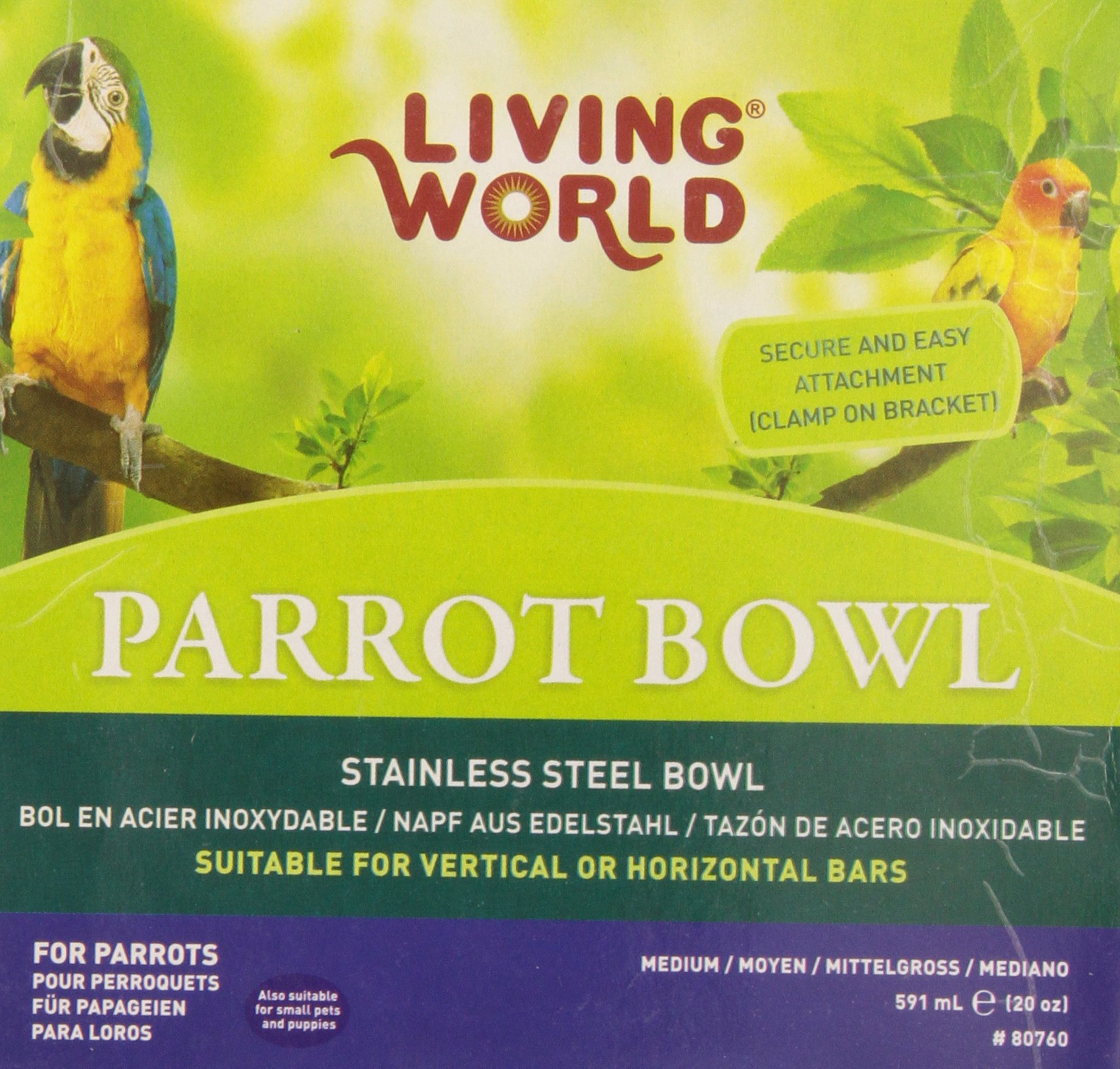 Living World Stainless Steel bowl, 20-Ounce by Living World