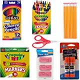 School Supply Basics - Supply Pack for Pre-school, 1st, 2nd, and 3rd Grade - Markers, Colored Pencils, Lead Pencils…