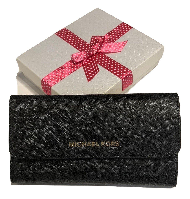 Michael Kors Jet Set Travel Large Trifold Wallet Saffiano Leather (Black)