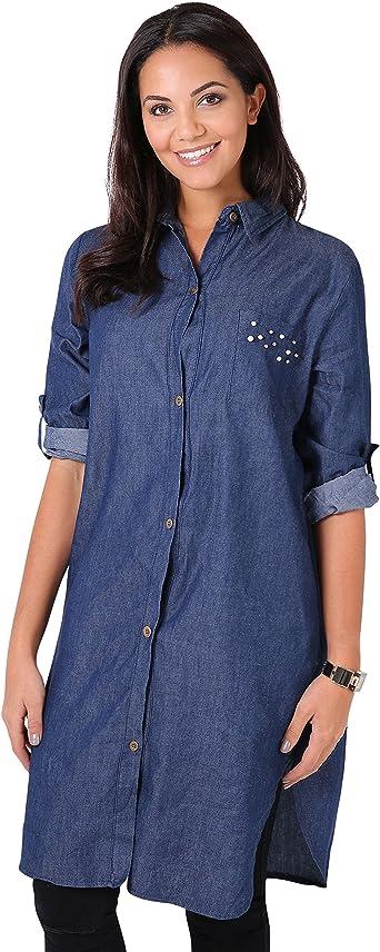 KRISP Camisa Vaquera Larga[Azul Oscuro, S]: Amazon.es: Ropa y ...