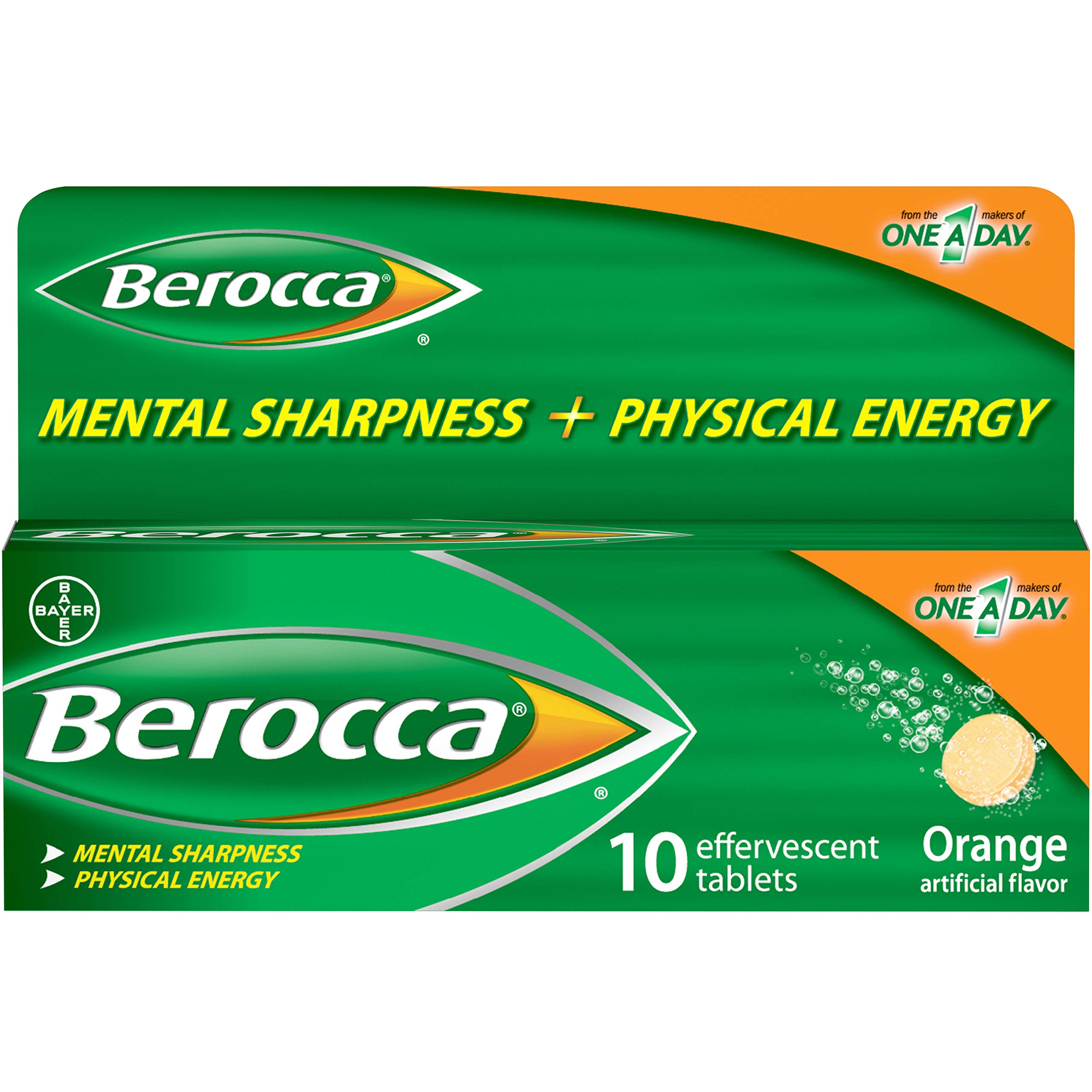 Berocca Energy Vitamin Supplement for Mental Sharpness and Physical Energy Support, Orange Flavor, Effervescent Tablets with Vitamin C for Immunity Support*, 10 Count