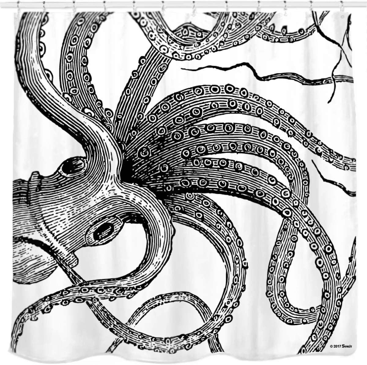 Sunlit Designer Kraken Ocean Theme Giant Octopus Tentacles Fabric Shower Curtain Mythical Nautical Sea Monster Marine Life Abstract Illustration Monochrome Black and White