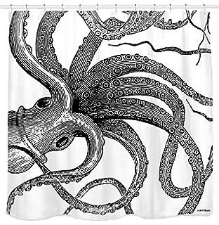 Sunlit Designer Kraken Ocean Theme Giant Octopus Tentacles Fabric Shower Curtain Mythical Nautical Sea Monster Marine