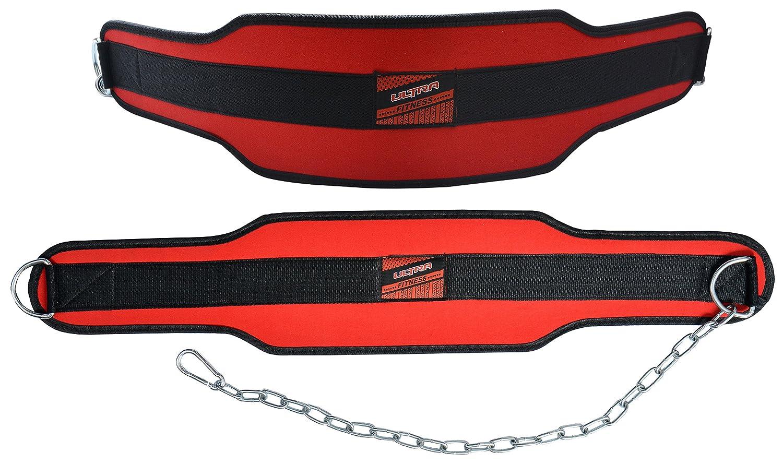 Cinturón lastrado con soporte lumbar de neopreno Ultra Fitness® de 15 cm de ancho para ejercitar con pesas; con sujeción de doble clip y fabricado con ...