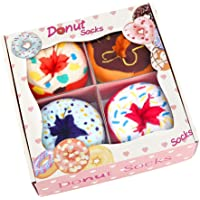 Funny Donut Box Socks for Women Ladies Teen Girls - Funny Gifts Fun Novelty Cute Crazy Funky Food Cool Cotton Crew Socks…