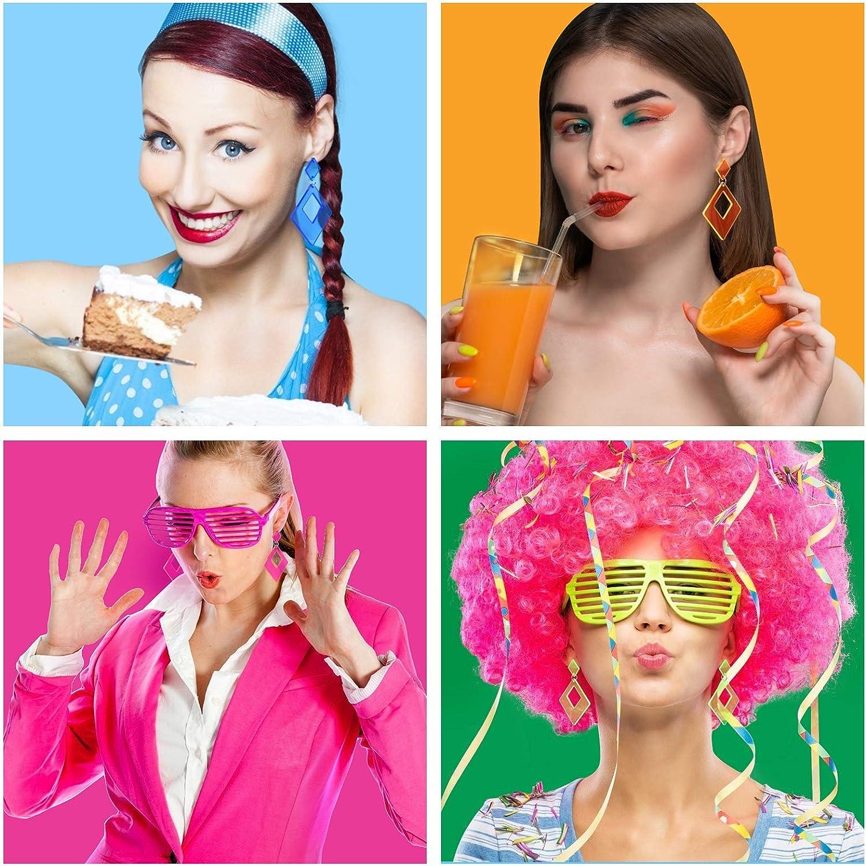 4 Paires de Boucles dOreilles N/éon R/étro carr/ées tendance en acrylique pour Femme Fille Accessoires Carnaval Disco de Costume Style R/étro de F/ête LAMEK Boucles dOreille Ann/ées 80