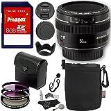 Canon EF 50mm f/1.4 USM Standard & Medium Telephoto Lens + Polaroid Optics 58mm 4 Piece Filter Set (UV, CPL, FLD) + Transcend 8GB Class 10 SDHC Card + Deluxe Polaroid Accessory Kit