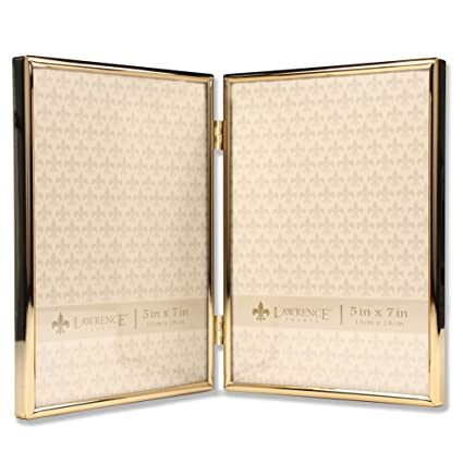 Amazon.com - Lawrence Frames 5x7 Hinged Double Simply Gold Metal ...