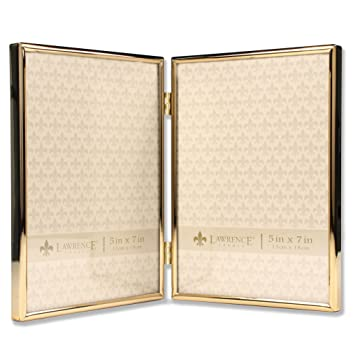 Amazoncom Lawrence Frames 5x7 Hinged Double Simply Gold Metal