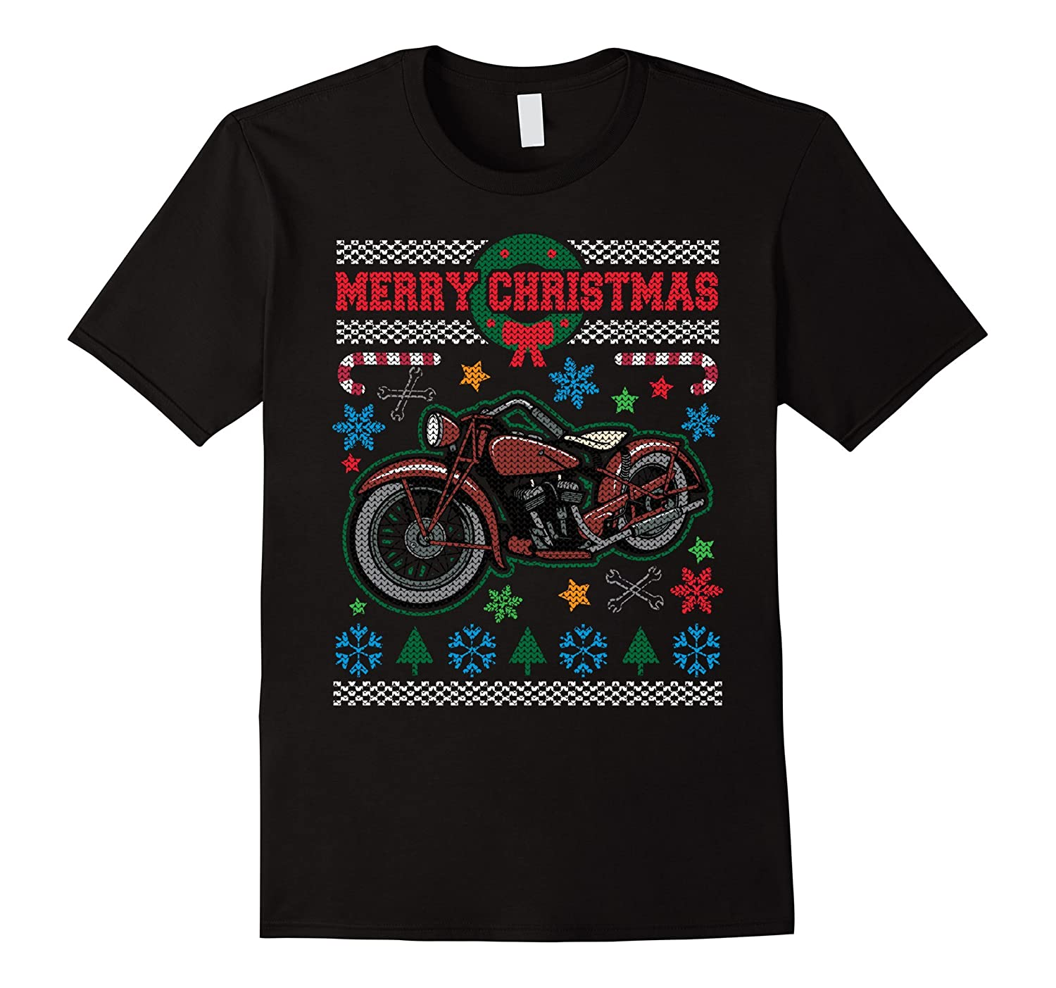 Merry Christmas Vintage Motorcycle Ugly 3 T-shirt