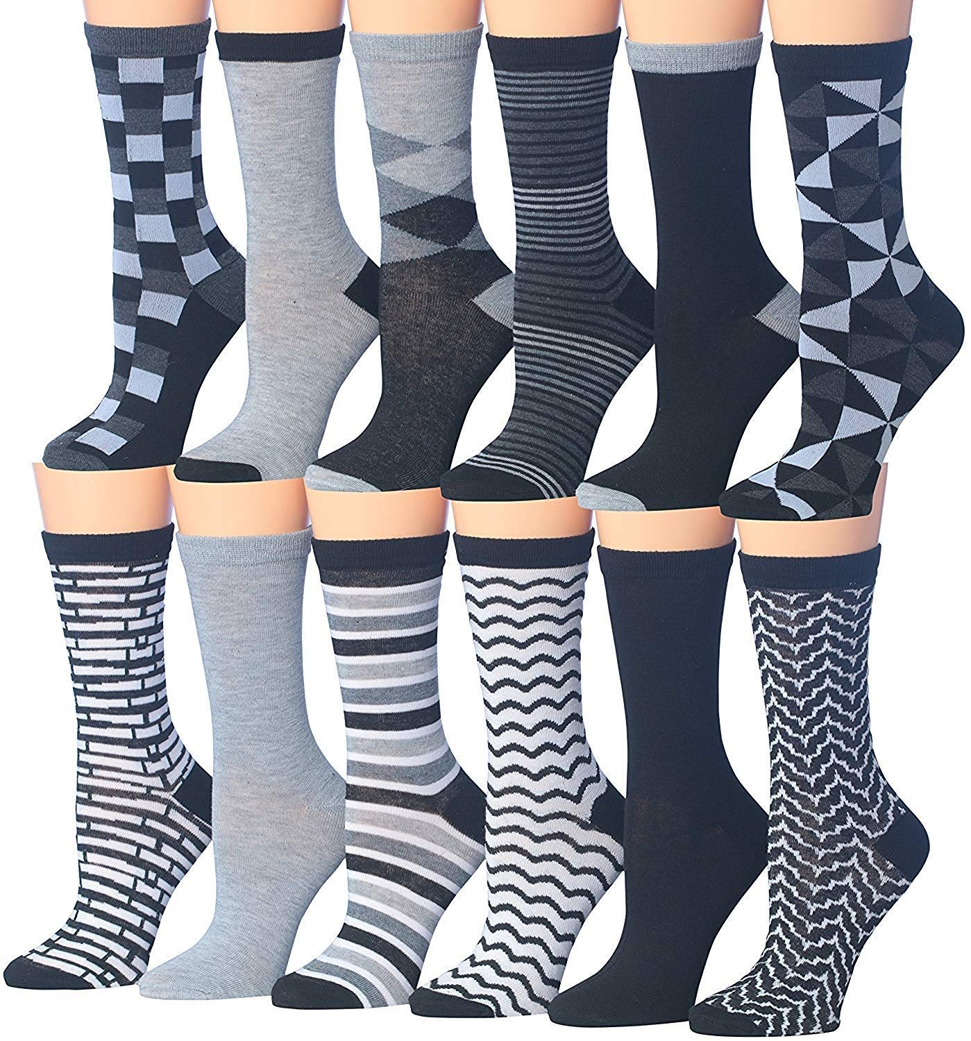 Tipi Toe Women's 12 Pairs Colorful Patterned Crew Socks (WC78-AB)