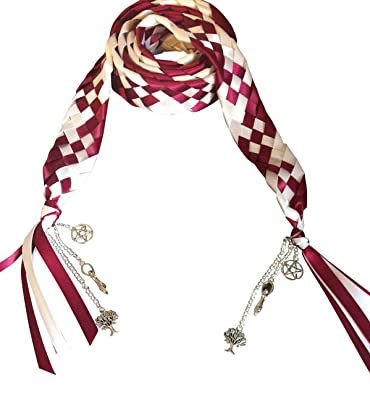 Multi dunns-jewels Wedding Hand Fasting//Binding Cord 6 Strand Braid Ribbon with Charms