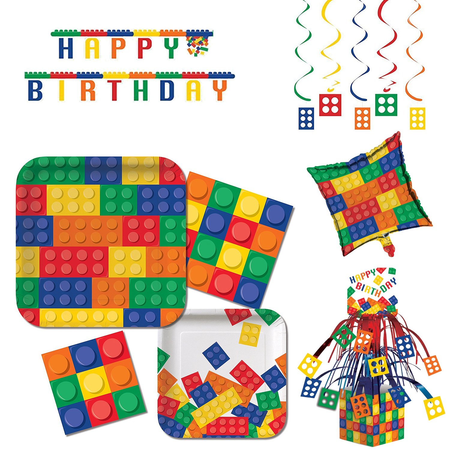 Block Party Tableware & Decorations Kit (16 Guests) by Custom Bundle