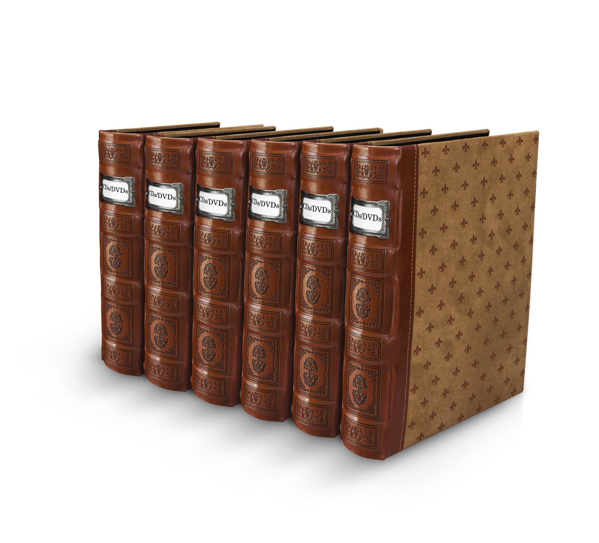 Bellagio-Italia Tuscany Cognac CD/DVD Storage Binder Holds 48 Discs 6-Pack