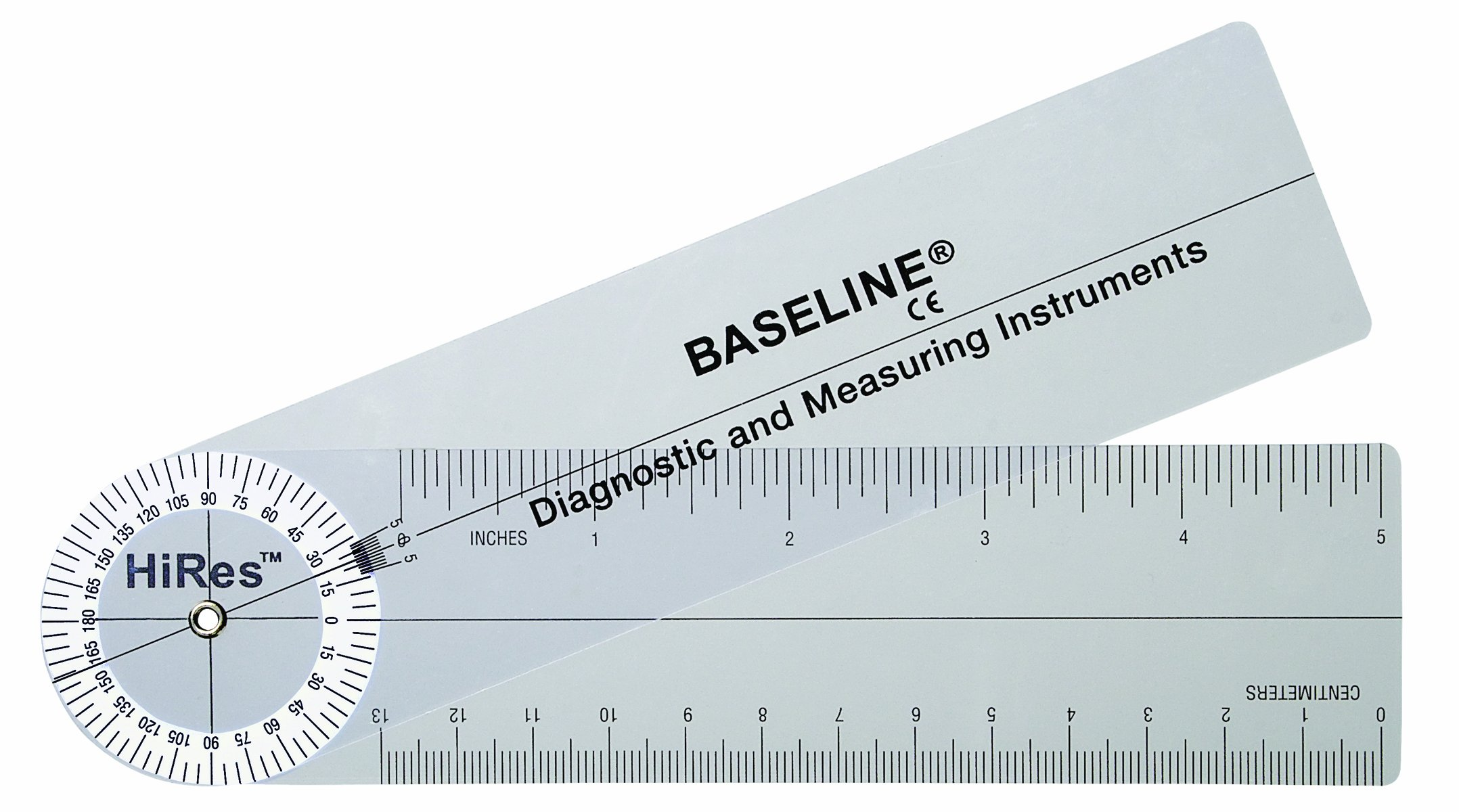 Baseline 12-1006HR-25 Plastic Goniometer Rulongmeter Style Hires 360 Degree Head 7 Inch Arms 25-Pack