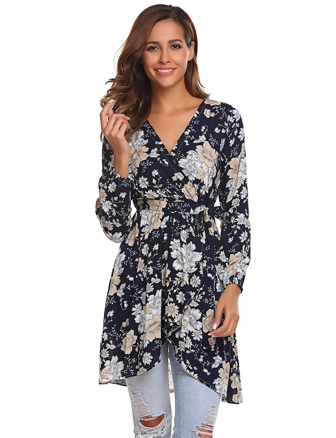 dc191b35190 SoTeer Women s V-Neck Floral Print Tunic Top Sexy Casual Long Sleeve Mini  Dress at Amazon Women s Clothing store