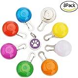 Hunde Leuchtanhänger, Beupro 8pcsSicherheits Clip-OnLED Licht Leuchtanhänger Schlüsselanhänger und ein Haustier ID Tag für Läufer, Jogger, Walker, Fahrradfahrer ,Tiere wie Hunde ,Katze