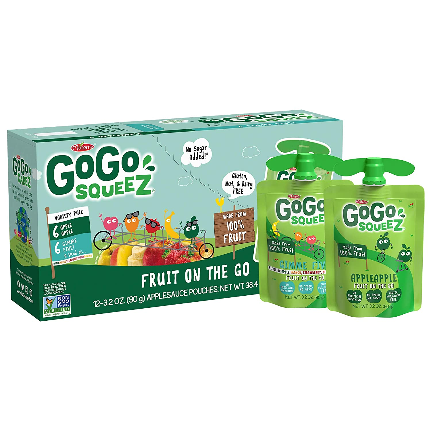 GoGo squeeZ Applesauce, Variety Pack (Apple/Gimme 5), 3.2 Ounce (12 Pouches), Gluten Free, Vegan Friendly, Unsweetened Applesauce, Recloseable, BPA Free Pouches