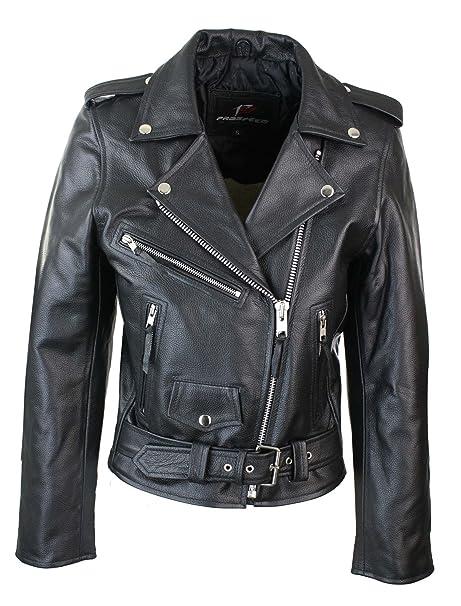 8e20486b00 Giacca Corta da Donna Chiodo in Vera Pelle Stile Biker Brando ...