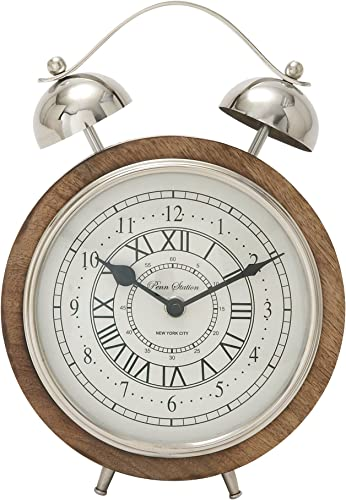 Deco 79 40656 Outstanding Wood Stainless Steel Table Clock