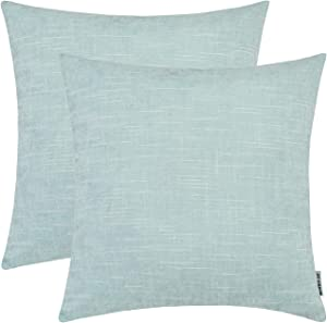 HWY 50 Chenille Soft Comfortable Solid Decorative Throw Pillows Covers Set Cushion Cases for Couch Sofa Living Room 20 x 20 inch Aqua Decor Pack of 2