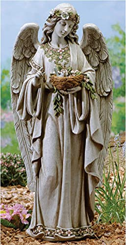 Roman 24″ Joseph's Studio Angel Holding Bird's Nest Outdoor Garden Statue