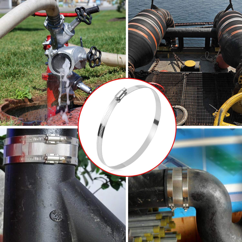 Selizo Kit de colliers de serrage en acier inoxydable 304 lot de 6 colliers de serrage pour tuyau /à engrenage sans fin r/églable 141-165 mm