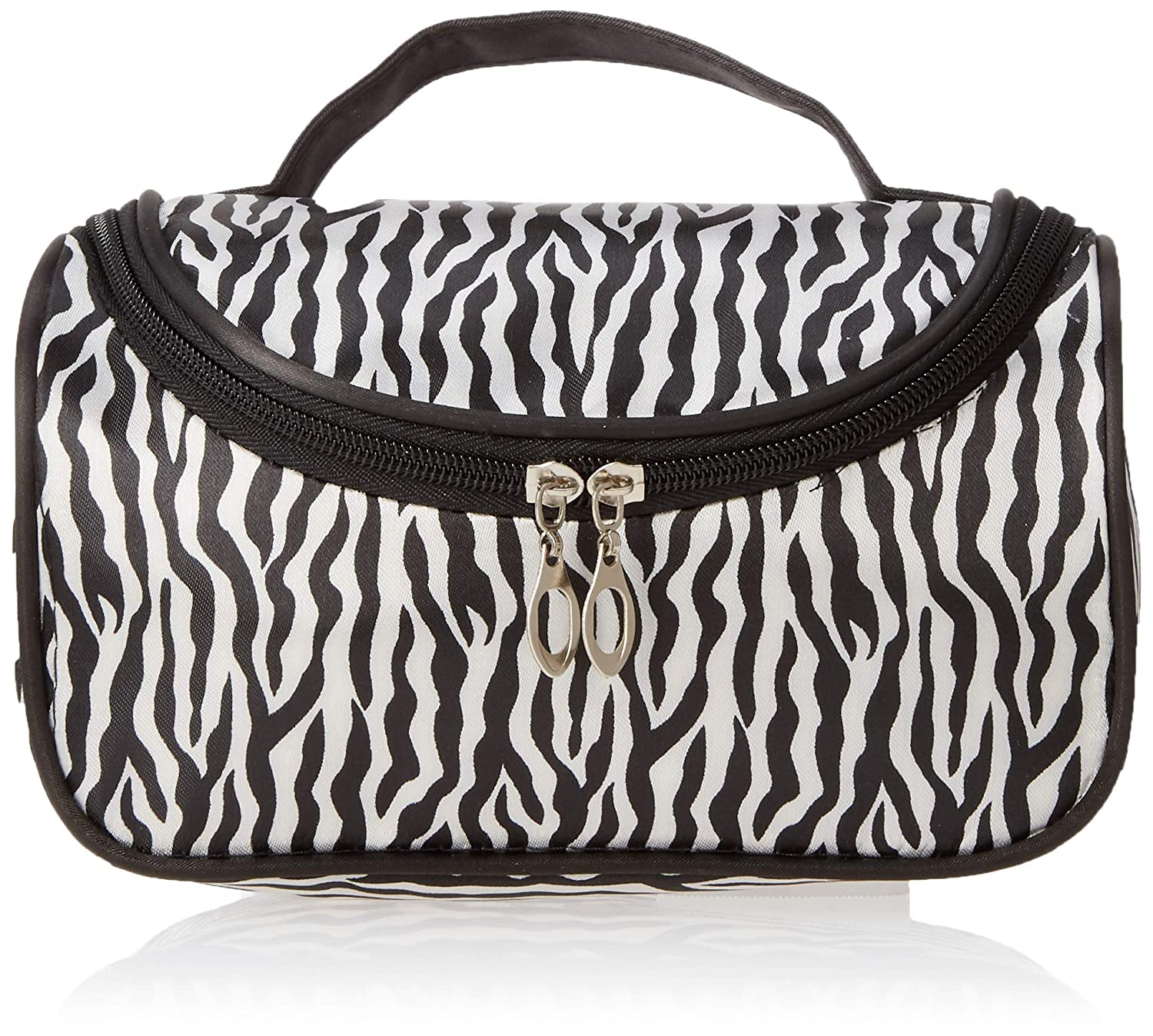 MUNISO Black zebra toiletry bag makeup bag,Portable zebra toiletry bag print bag,Waterproof zebra toiletry bag for women