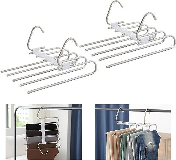 DIVISTAR 1 UNIDS Multi-Purpose Metal Magic Pants Hanger Closet Perchas Space Saver Rack de Almacenamiento para Jeans Colgantes Bufanda Tie