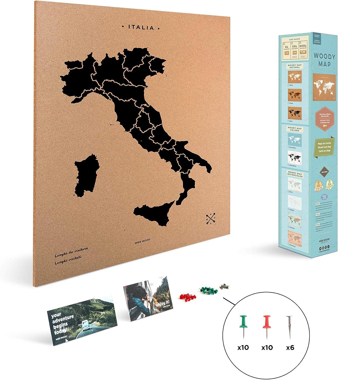 Miss Wood Mapa de Italia Estampado con Serigrafía sobre Corcho ...